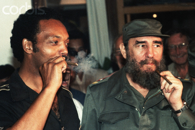 Jesse Jackson Smoking Cigar with Fidel Castro