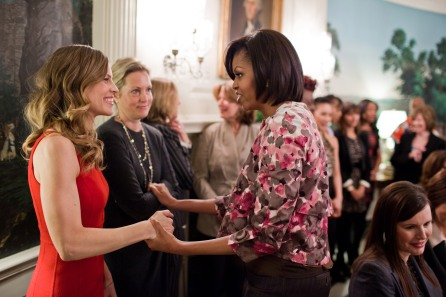 First Lady Michelle Obama greets actress Hilary Swank and other guest mentors in the Diplomatic Reception Room of the White House during an event celebrating Women's History Month, March 30, 2011. Mrs. Obama brought the distinguished group of volunteers together to visit schools and share their experiences with students across the Washington, D.C. metro area. (Official White House Photo by Chuck Kennedy) This official White House photograph is being made available only for publication by news organizations and/or for personal use printing by the subject(s) of the photograph. The photograph may not be manipulated in any way and may not be used in commercial or political materials, advertisements, emails, products, promotions that in any way suggests approval or endorsement of the President, the First Family, or the White House.