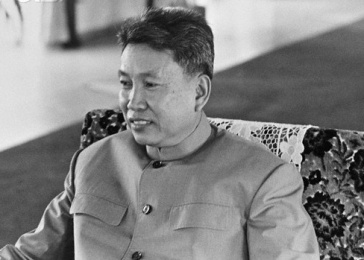 ca. September 1978, Phnom Penh, Cambodia --- Khmer Rouge leader Pol Pot a few months before Vietnam installed a new government in Cambodia, in January 1979. Between 1976 and 1979, he was the Prime Minister of Democratic Kampuchea. --- Image by © Richard Dudman/Sygma/Corbis