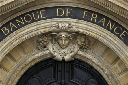 Detail of the facade of the Bank of France headquarters in Paris May 9, 2012. REUTERS/Charles Platiau